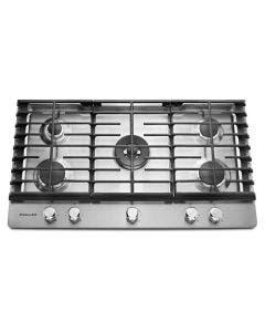 """Cooktop a gas de 36"""", acabado en acero. Kitchenaid KCGS556ESS."""