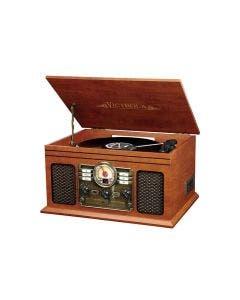 Tornamesa vintage para LP, 6 en 1 con radio FM, CD,  cassette, bluetooth y entrada auxiliar.